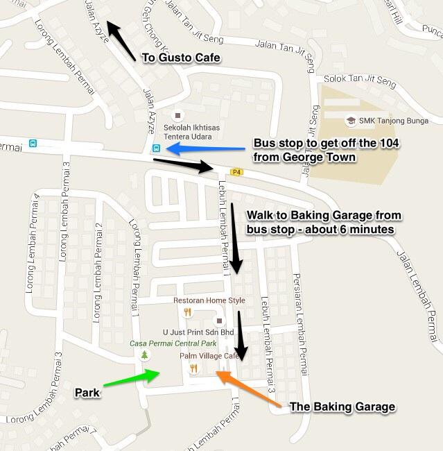 Map of the Baking Garage Penang