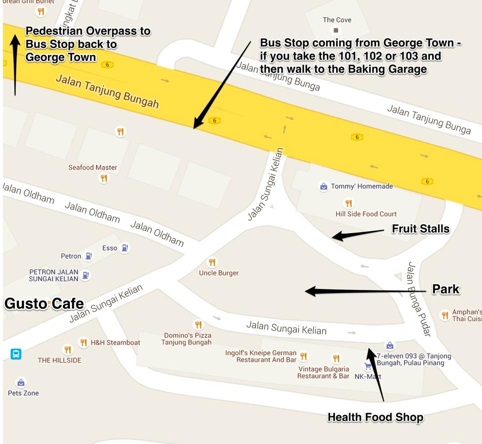 Gusto Cafe Penang Map